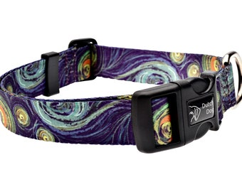 Dog collar from recycled webbing Van Gogh inspiration
