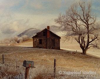 Frosty Rock House 1 -- Fine Art  Photography Print -- Photo, Home Decor, Landscape, Winter, Frosty, Art