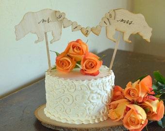 Rustic Mr and Mrs Cake Topper by Burlap and Linen Co