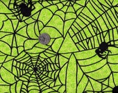 Black Spiders and Webs on Green Background Halloween fabric