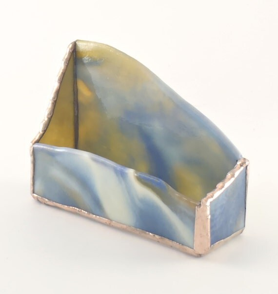 Unique desktop business card holder stained glass home for Unusual business card holders