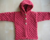 Lace Hooded Cardigan in Coral