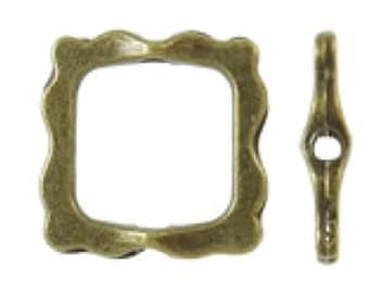 12pc antique bronze finish 15mm square shape bead frames-8485
