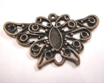 4pc antique copper butterfly pendant-3843