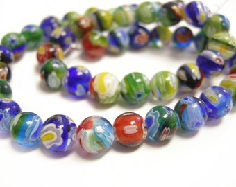 1 strand 14 inches mix color 7.8mm Millefiori Round Glass Beads-9086
