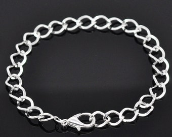 12 sets of silver finish bracelet making with lobster clasps-381L