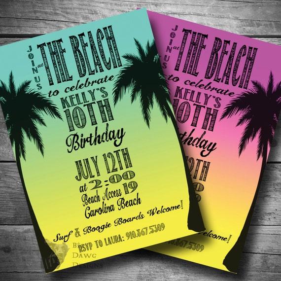 beach party invitation surfer birthday invite luau