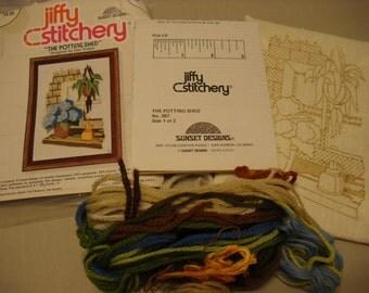 Unfinished Jiffy Stitchery Kit by Sunset Designs called The Potting Shed Kit #367