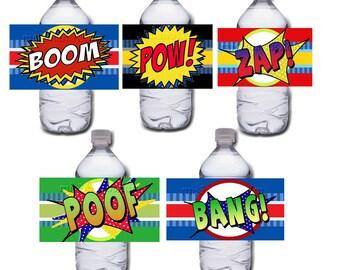 Comic Book Water Bottle Label Wrapper Printable Digital Instant Download Superhero SET of 5