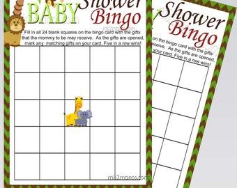 Jungle Baby Safari Shower Bingo Game Printable Instant Download
