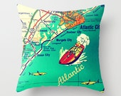New Jersey Map Pillow | Ocean City Atlantic City Ventnor Margate Beach House | Jersey Strong Decorative Throw Pillow Cover | Retro Map Print