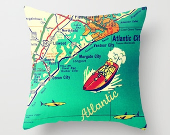 New Jersey Map Pillow | Decorative Pillow Cover | Ocean City Atlantic City Ventnor Margate Beach House | Jersey Strong | Retro Map Print