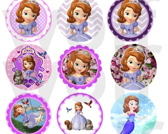 """instant download jpg Disney SOFIA THE FIRST bottlecap Images 1"""" Digital Collage Sheet 4x6"""" Hair Bow Centers, Stickers, Magnets,Clover Amber"""