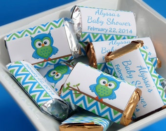 PERSONALIZED Mini Candy Bar Wrappers Baby Shower - Custom Made Chocolate Bar Party Favors - Carribean Blue Lime Owl - Baby Boy - B2002