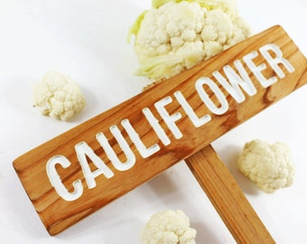 CAULIFLOWER Garden Sign, Painted & Oil Sealed Cedar Wood: Hand Routed, Vegetable Plant Garden Marker, Custom Garden Sign, Personalized Sign
