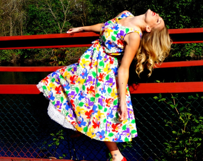 Floral Sun Dress SMALL MEDIUM 1960s Cotton Sundress White Red Yellow Blue Green Flowers Full Skirt Sleeveless Adjustable Straps Aygee USA