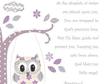 Baptism Gift for Baby Girl - Christening Gift for Girls - Owl Nursery Art - Personalized Baptism Gift - - PRINT