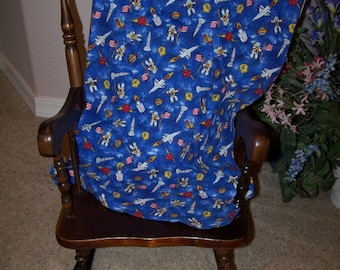 Spaceman Receiving Blanket, featuring astronauts, planets, space ships on blue background, RB066
