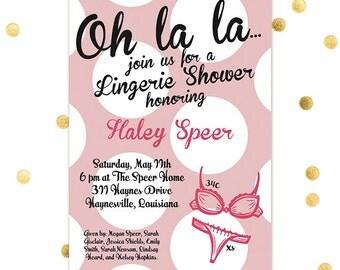Ooh La La - Bachelorette Invite Lingerie Shower Invitation Girls Party Girls Weekend Bridal Shower - Custom Quantities Available