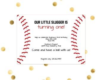 Little Slugger Baseball - Birthday Party Invitations - Boy or Girl Softball Little LeagueCustom Quantities AvailableCustom Invitation