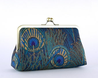 EllenVintage Hera Liberty Peacock Clutch in Blue, Bridal clutch, Gift ideas, Bridesmaid clutch
