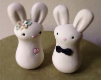READY TO SHIP Cuddle Bunnies Wedding Cake Topper