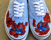 Custom Painted Flower Sparrow Bird Vans Shoes