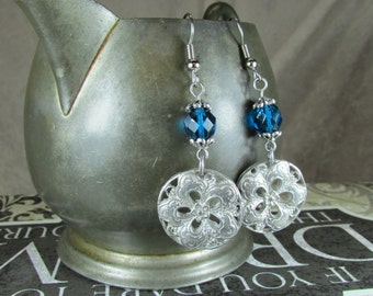 Dark Aqua Czech glass and Vintage drop earrings