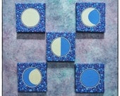 RESERVED FOR TEENA Mini Original Painting set of 5- Moon Phase