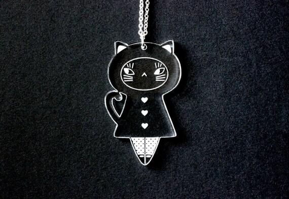Cat doll necklace - cat pendant - kitten jewelry - kawaii kokeshi - graphic matriochka - cute jewellery - lasercut clear acrylic -