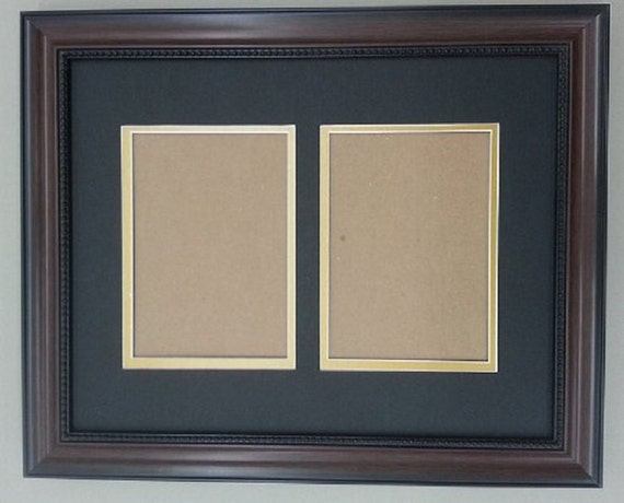 11x14 Walnut Brown Frame With Black Amp Gold Double Picture Mat