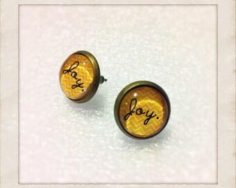 """12mm Glass """"Joy"""" Vintage Style Earrings"""