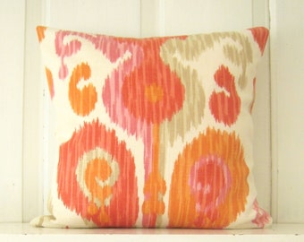 Decorative Pillow, Ikat Pillows, Pink Coral Orange Pillow Cover, Braemore 'Journey' Fruity Fabric, Throw Pillow, Sofa Pillow, Bedding Pillow