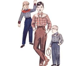 1950s Children's Costume Pattern Butterick 4958, Boys or Girls Western Suit, Contrast Yoke Shirt & Pants, Vintage Sewing Pattern Size 4