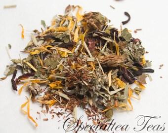 Organic Loose Leaf Red Raspberry  Rooibos Red Tea with Clover Herbal Tea 2 oz Pkg. ST0035