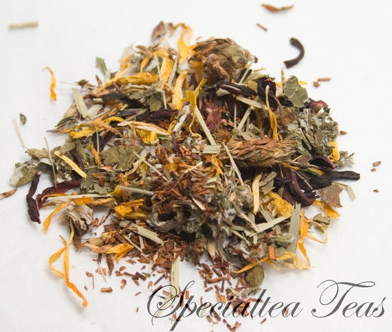 Organic Loose Leaf Red Raspberry  Rooibos Red Tea with Clover Herbal Tea 2 oz Pkg. ST0035