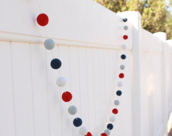 Nautical, Boys Nursery Felt Ball Garland, Pom Pom Garland, Nursery Decor, Bunting Banner, Party Decor, Baby Shower