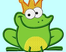 Frog King or Prince 3 sizes APPLIQUE Embroidery Design INSTANT DOWNLOAD