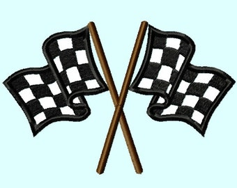 Race Car Flags APPLIQUE Embroidery Design 4 sizes INSTANT DOWNLOAD