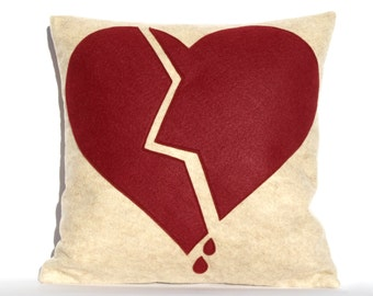 Broken Heart- Appliqued Eco-Felt Pillow Cover in Stone, and Ruby - 18 inches