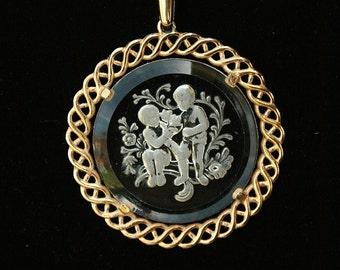 Vintage Crown Trifari Lovers in the Garden Intaglio Pendant Necklace