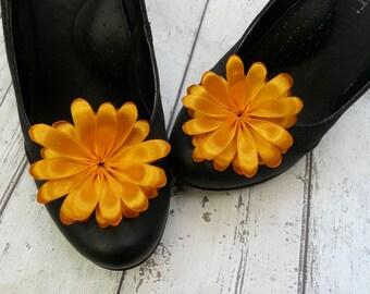 Floral Shoe Accessory, Orange Shoe Clips, Orange Flower Shoe Clips, Birthday Shoe Pins, Tangerine Shoe Clips