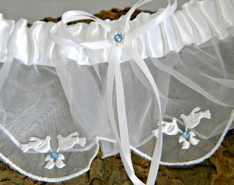 Custom Traditional Garter Toss Snow White Turtle Dove Love Birds w/ Swarovski Crystal Rhinestone Bling White Ivory Bridal Wedding Belt Gift