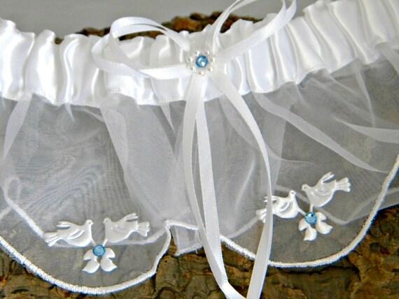 Custom Traditional Garter Toss Snow White Turtle Dove Love Birds w/ Swarovski Crystal Rhinestone Bling White Ivory Bridal Wedding Belt Gift