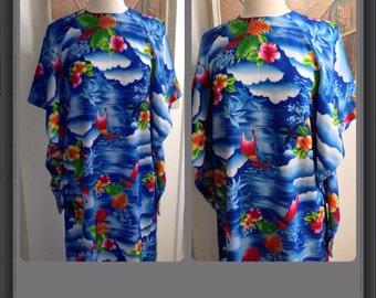 SALE / Sail Away With Me / Vintage Hawaiian Pake Muu / Medium / Large