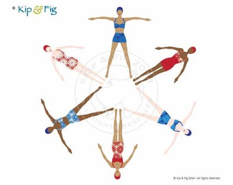 Retro Synchronised Swimmers applique template - PDF applique pattern
