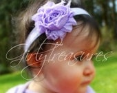 Lavender Shabby Flower Headband. Baby Headband. Girl Headband. Newborn Headband. Photo Prop.
