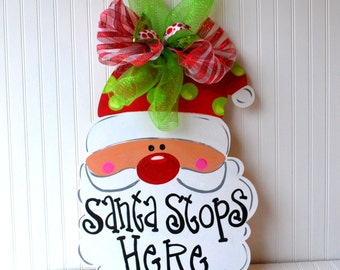 Christmas Decor, Christmas Door Decoration, Santa Door Hanger, Santa Wreath, Christmas Door Hanger, Christmas Wreath, Holiday Decor