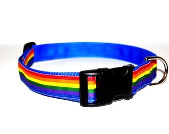 Rainbow Dog Collar Adjustable Sizes (M, L, XL)