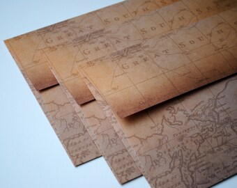 Distressed World Map Set of 3 Handmade Envelopes by Paper Hearts Station on Etsy